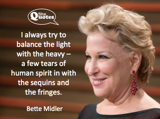 Bette Midler balances