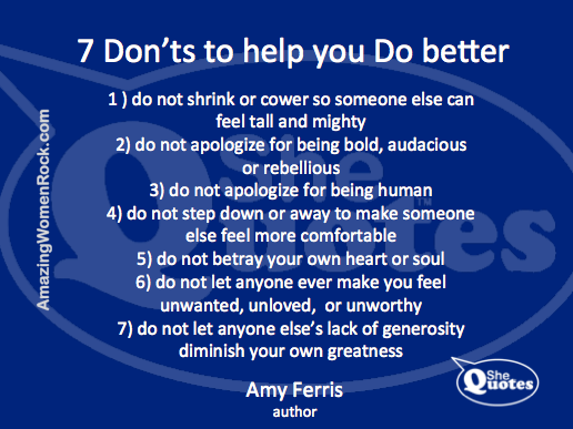 Amy Ferris knows what not to do