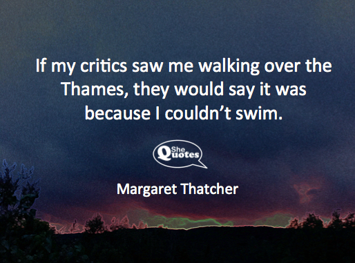 Margaret Thatcher walking on water